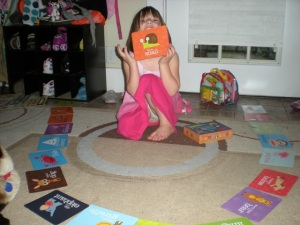 mycah and her alphabet cards