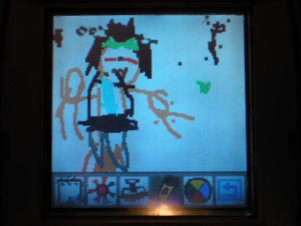 mycah's drawing of poppa on the leapster
